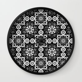 Retro .Vintage . Black and white openwork ornament . Wall Clock