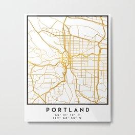 PORTLAND OREGON CITY STREET MAP ART Metal Print
