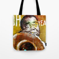 louis armstrong Tote Bags featuring Louis Armstrong by Ed Pires