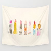 lipstick Wall Tapestries featuring Lipstick #2 by Sweet Colors Gallery