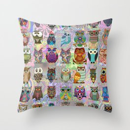 Psychedelic  Owls Throw Pillow