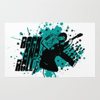 rock and roll Area & Throw Rugs featuring Rock & Roll by Chamber Decals