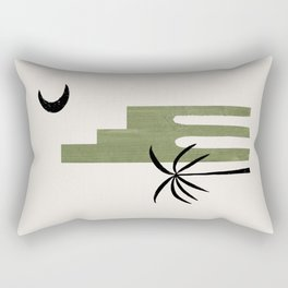 Mid Century Modern Minimalist Ancient Ruin Architecture Olive Green Palm Tree On Paper Collage by Ejaaz Haniff Rectangular Pillow