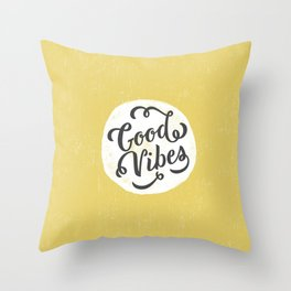 good vibes logo new art love cute 2018 2019 style yellow vibes beach new hot style fashion case cove Throw Pillow