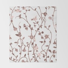 Rusty Pink Floral Pattern Throw Blanket