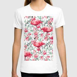 Flowers and Flamingos T-shirt