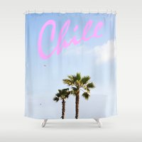 chill Shower Curtains featuring Chill by thecrazythewzrd