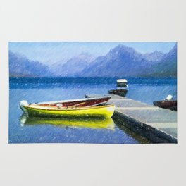 Lake McDonald Boats Rug