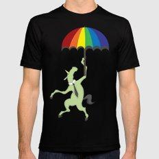 Rainbow Umbrella MEDIUM Black Mens Fitted Tee