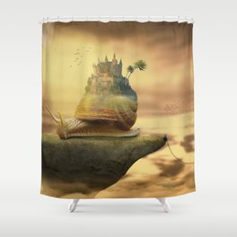 The Snail With The Castle Back Pulls The World Shower Curtain