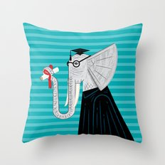 Intelligent Elephant Throw Pillow
