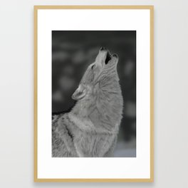 Lone Wolf Animal Digital Painting Framed Art Print