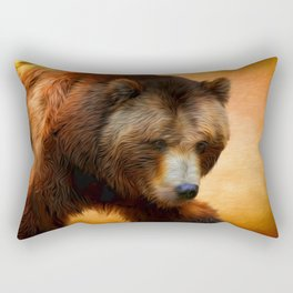 Grizzly Bear Painted Rectangular Pillow