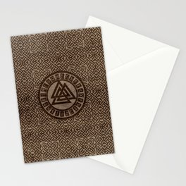 Valknut Symbol and Runes on Celtic Pattern on Wood Stationery Cards