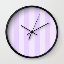 Chalky Pale Lilac Pastel Beach Hut Stripes Wall Clock