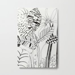 Patterned leaves revisited -line drawing plants Metal Print