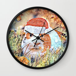 Aquarell Christmas Guinea Pig Wall Clock