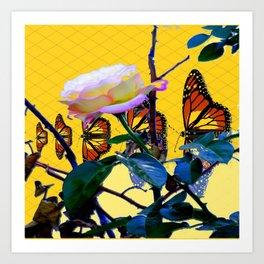 MONARCH BUTTERFLIES & ROSE ABSTRACT Art Print
