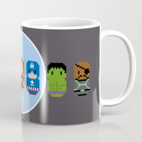 avenger Mugs featuring Pixel Art - Avenger parody by Cloudsfactory