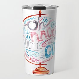 Oh The Places You'll Go - Vintage Globe Typography Pink Blue Grey Travel Mug