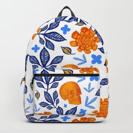 Blue and Orange Floral Print with Skulls Backpack