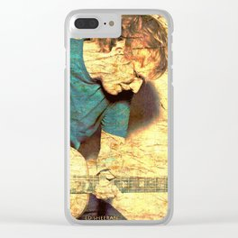 Guitar player on stone Clear iPhone Case