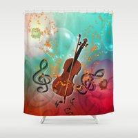 violin Shower Curtains featuring Violin with violin bow by nicky2342