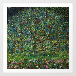 Colorful Poppies and Apple Tree in Orchard landscape by Gustav Klimt Art Print