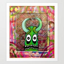 Electric Skeleton War Mask Art Print