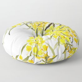 Godlen wattle flower watercolor Floor Pillow