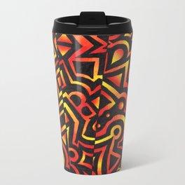 Red and Yellow  Metal Travel Mug
