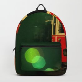 red tram in bubbles Backpack