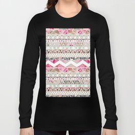 Aztec Spring Time! | Girly Pink White Floral Abstract Aztec Pattern Long Sleeve T-shirt