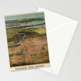 Map Of Newark 1916 Stationery Cards
