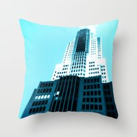 comic book Throw Pillows featuring Comic Book Chicago by A/B Photography