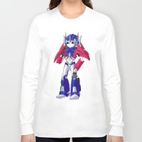 optimus prime Long Sleeve T-shirts featuring Optimus Prime by Crow