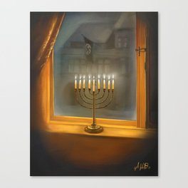 Menorah In The Darkness Canvas Print