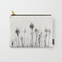 Dried Tall Plants and Flying White Birds Carry-All Pouch