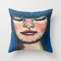 Throw Pillows featuring blue by AlienHobo51