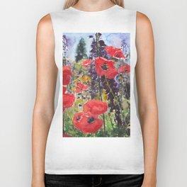 """Red Poppy Field Painting Reproduction Watercolor """"Wild Poppy Field"""" Biker Tank"""