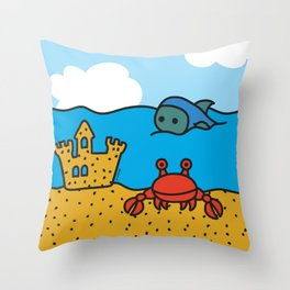 Fish and Crab Throw Pillow