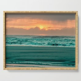 Turquoise Ocean Pink Sunset Serving Tray