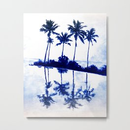 Palm Tree Reflections Blue Metal Print
