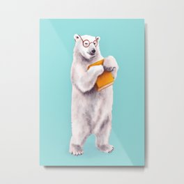 Smart Polar Bear Book Lover Metal Print