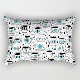Retro coffee cups teal Rectangular Pillow