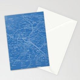 Paris Metro Map - Blue Stationery Cards