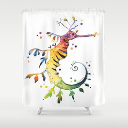 Seahorse watercolor Shower Curtain