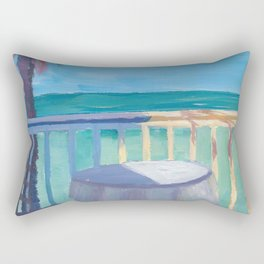 Seaview Cafe Table at the Caribbean With Palm Rectangular Pillow