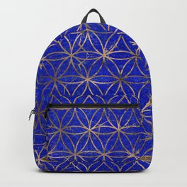 Flower of life pattern - Lapis Lazuli and Gold Backpack
