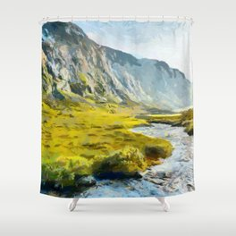 Golden hour in the fjords. Hjelle, Norway Shower Curtain